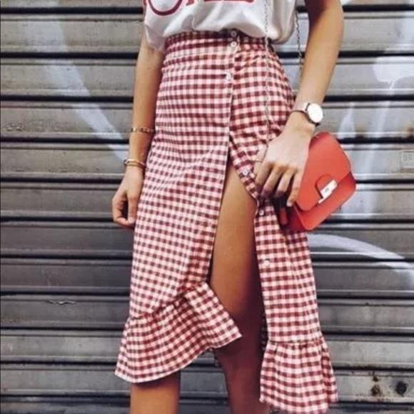 2075174736 Zara Skirts | Red Gingham Button Up Ruffle Midi Skirt | Poshmark